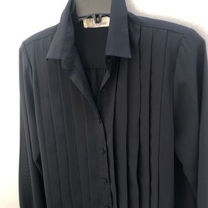 La Blouse Vintage Sheer Black Fitted Pleated Front Shirt Blouse Size 8